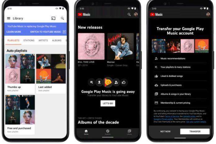 youtube music trasferire canzoni