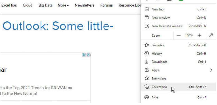 raccolta di pagine Web in Microsoft Edge