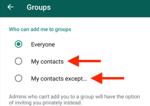 Chi può aggiungermi ai gruppi ndroid whatsapp