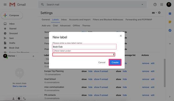 Come creare cartelle in Gmail