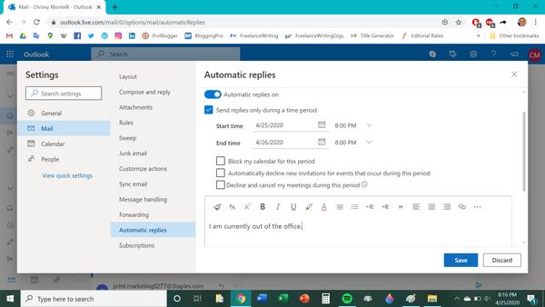 Come uscire dall'ufficio su Outlook 3