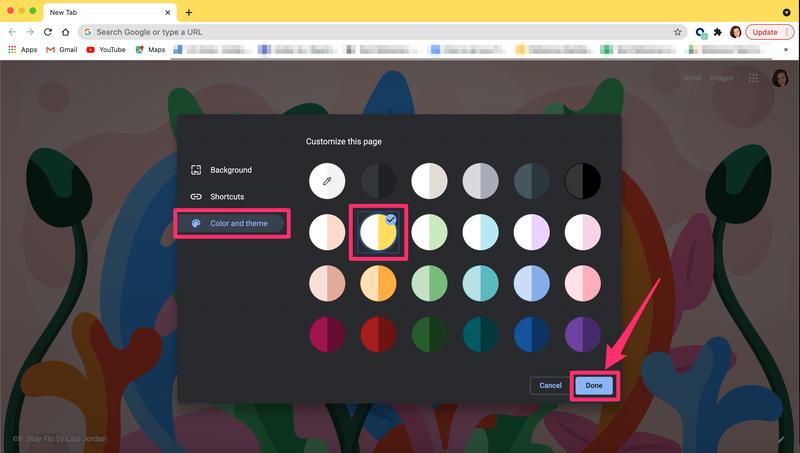 Pop-up di colori e temi di Google Chrome