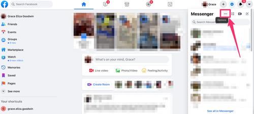 menu a discesa Messenger