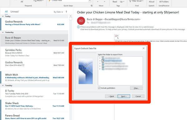 Come esportare le email da Outlook 2
