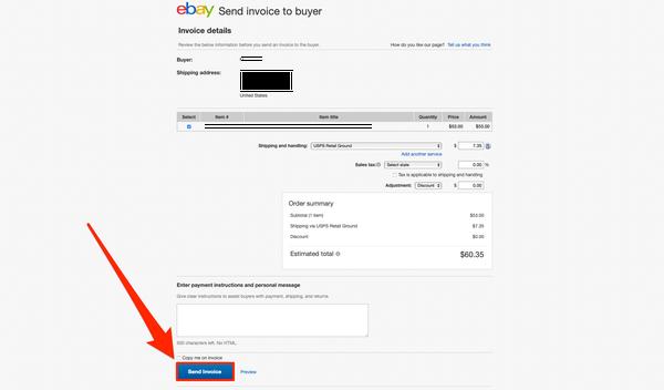 invia fattura ebay