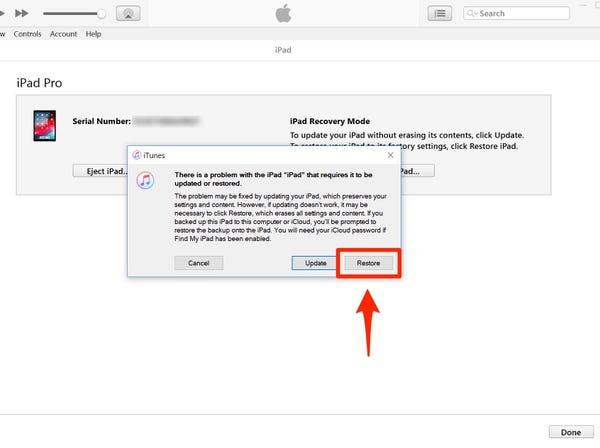 ripristinare iPad in iTunes