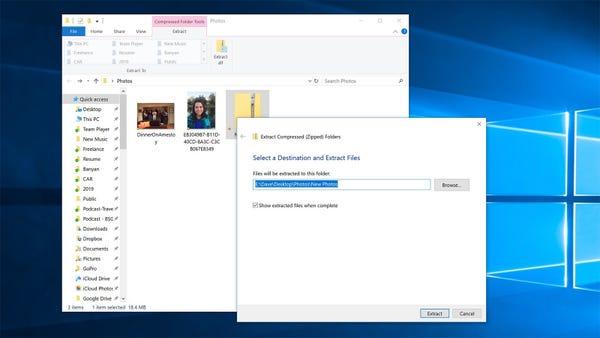Lo strumento di estrazione di Windows 10 che chiede dove devono essere collocati i file decompressi.