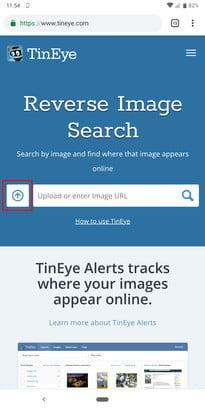 Ricerca inversa delle immagini utilizzando Tineye.com