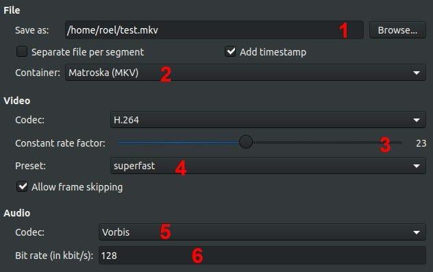 Finestra di dialogo del profilo di output di SimpleScreenRecorder