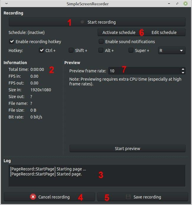 Interfaccia principale di registrazione SimpleScreenRecorder