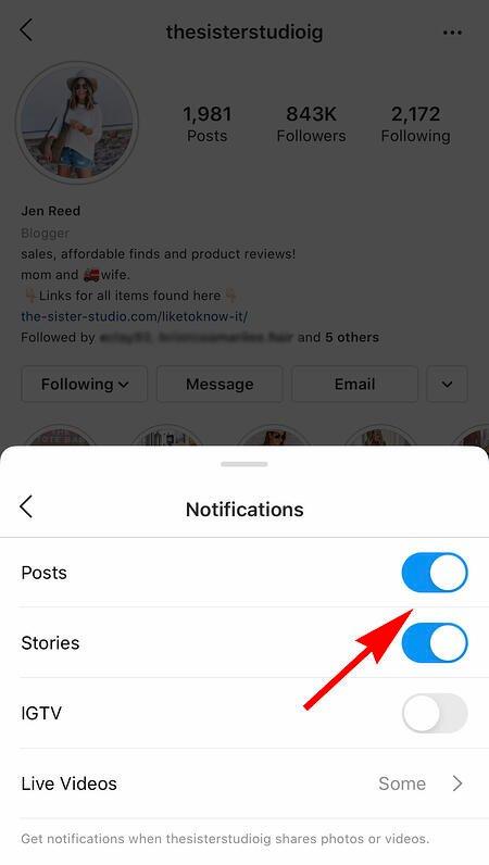 l'account Instagram di qualcuno per ricevere notifiche quando gli influencer pubblicano