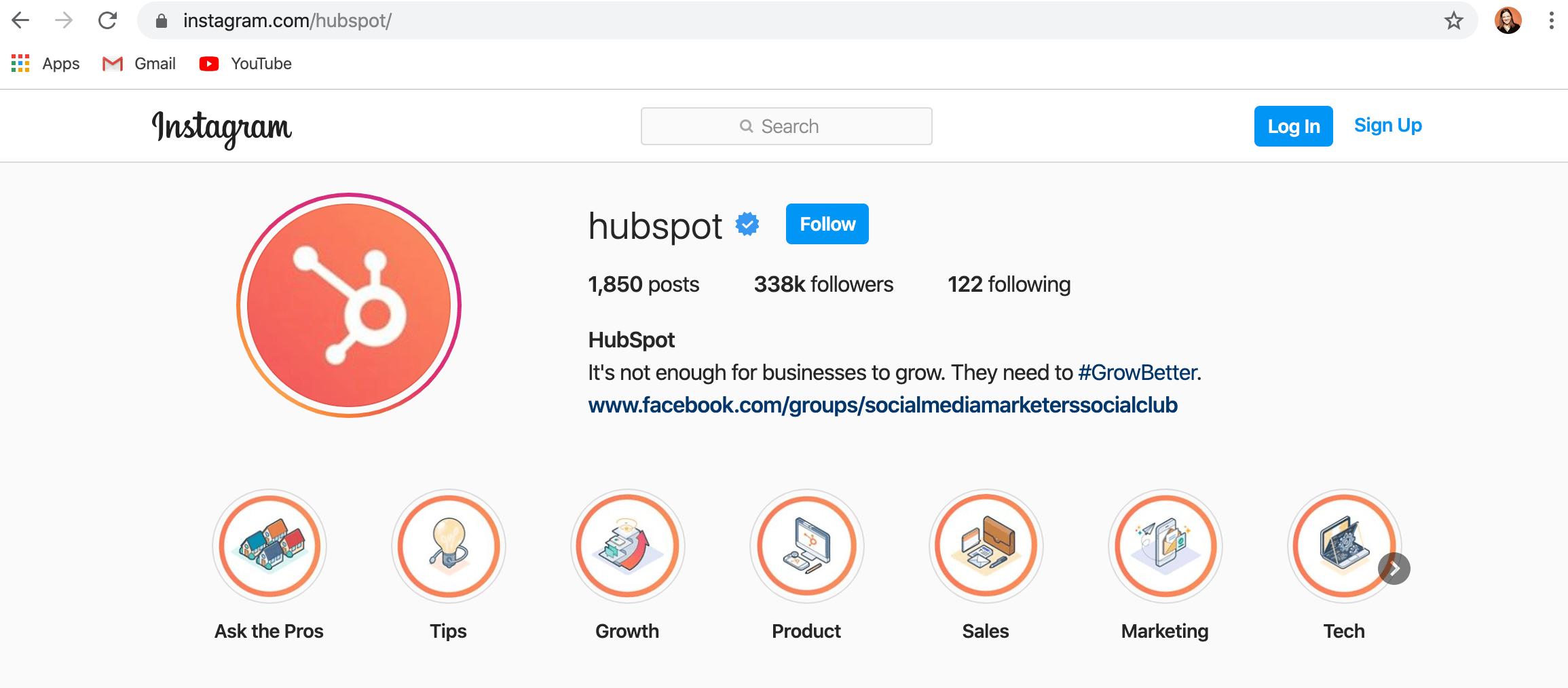 versione desktop dell'account instagram hubspot