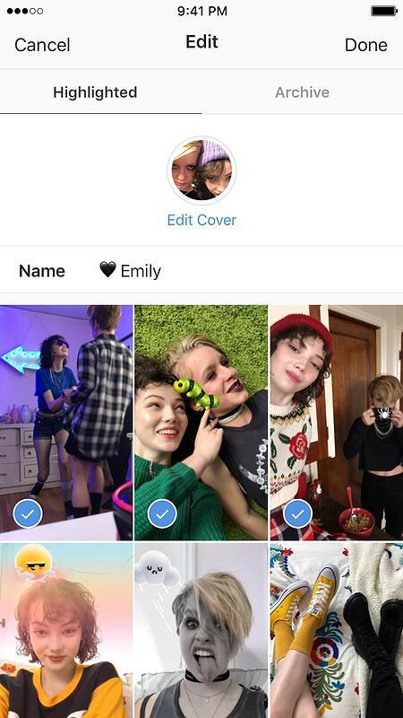 I momenti salienti delle storie di Instagram sono evidenziati da questa pagina di immagini passate
