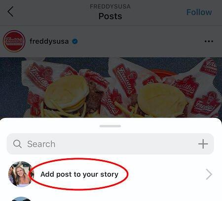 aggiungendo il post di qualcuno alla mia storia di Instagram