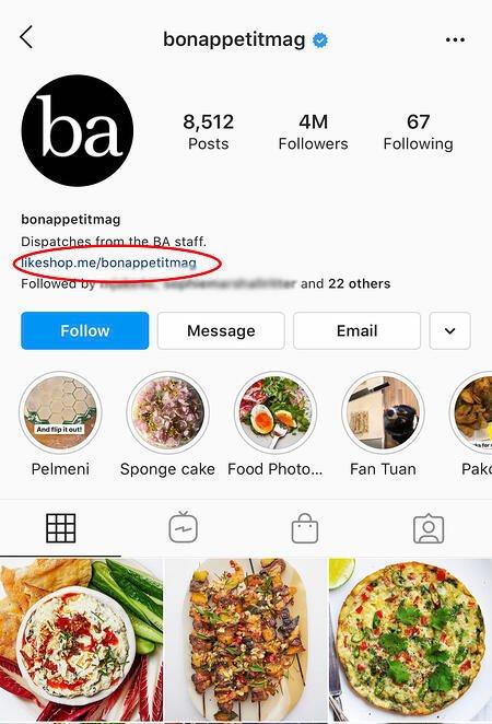 il link di qualcuno nella biografia di instagram