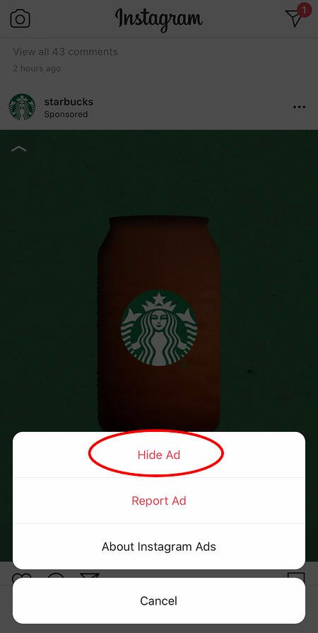 nascondere un annuncio di Starbucks su Instagram