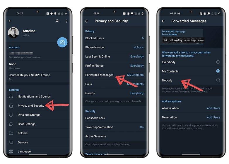privacy telegram come inoltrare i messaggi