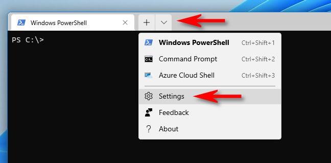 """Fare clic sul cursore verso il basso nella barra delle schede e selezionare """"Impostazioni""""."""