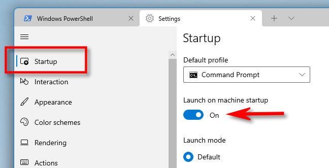 """Nelle impostazioni del terminale di Windows, fai clic su """"Avvio"""" nella barra laterale, quindi attiva """"Avvia all'avvio della macchina""""."""