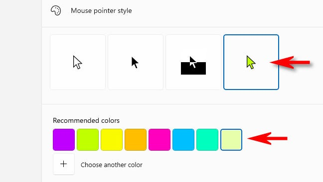 Scegli un colore per il puntatore del mouse.