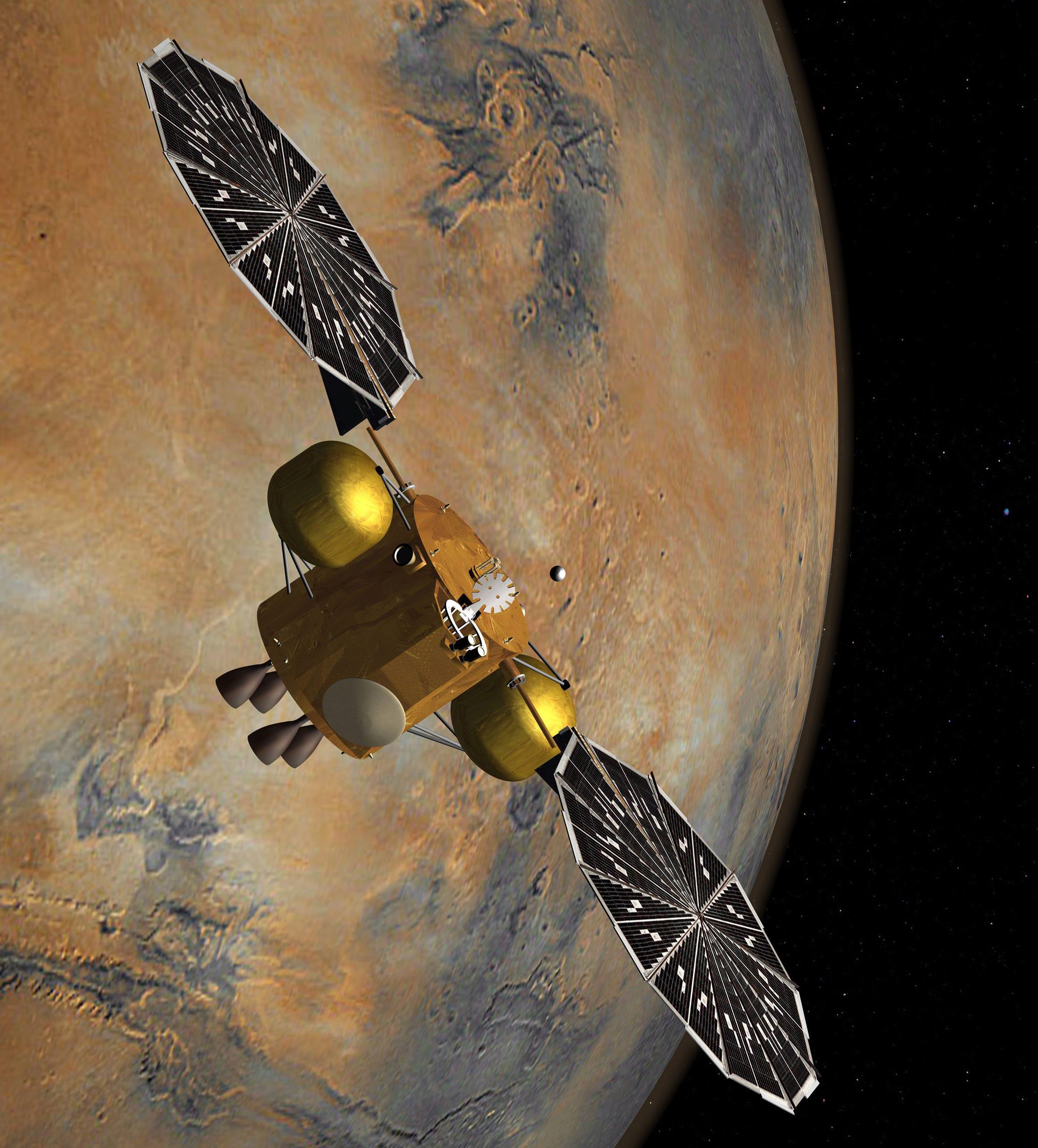 illustrazione di un veicolo spaziale orbitante su Marte che cattura un piccolo contenitore di campioni