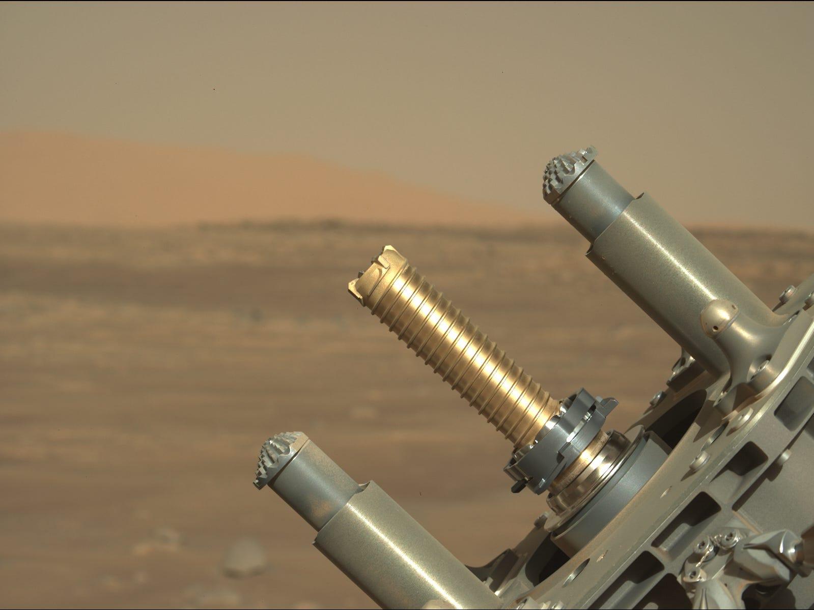 il braccio robotico del rover perseveranza sostiene il tubo d'oro per i campioni di carotaggio sullo sfondo delle pianure di Marte