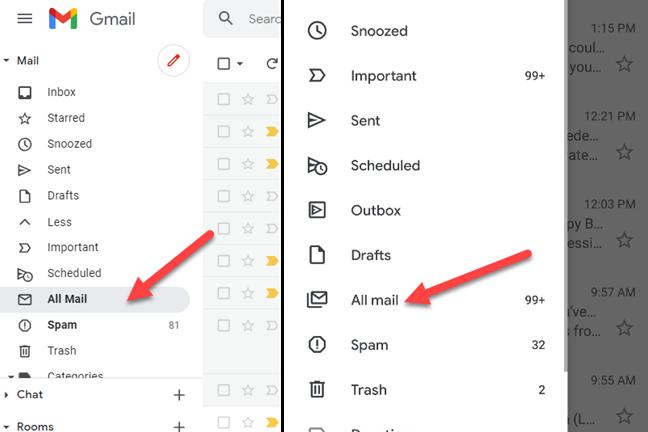 """Vai alla scheda """"Tutti i messaggi"""" gmail"""