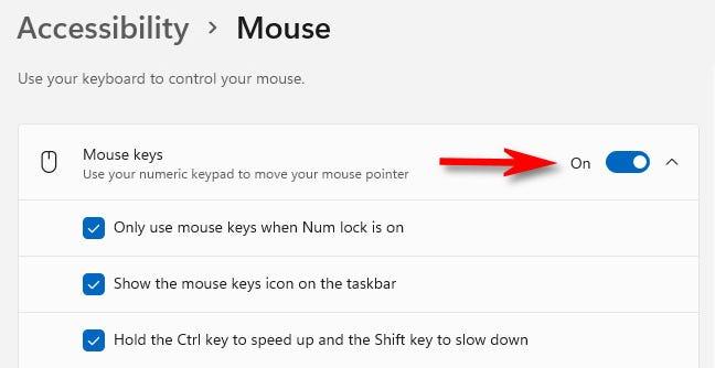 """Ruota l'interruttore accanto a """"Tasti mouse"""" su """"On""""."""